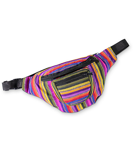 Guatemalart Pink & Purple Stripe Fanny Pack