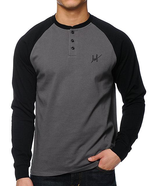 Huf baker black charcoal long sleeve henley shirt at for Black long sleeve henley shirt