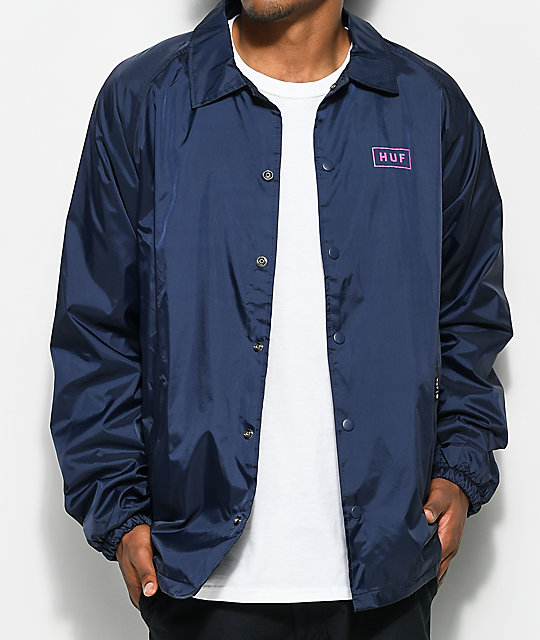 HUF Bar Logo Navy Coaches Jacket | Zumiez