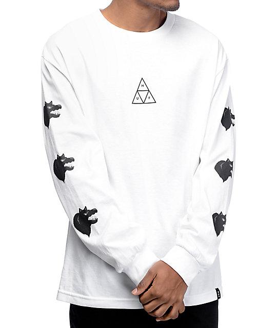 Black Wolf White Long Sleeve T-Shirt