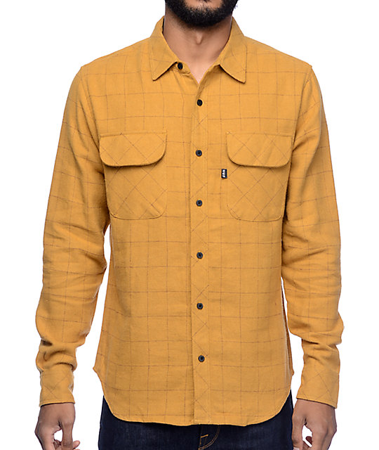 HUF Block Plaid Camel Flannel Shirt