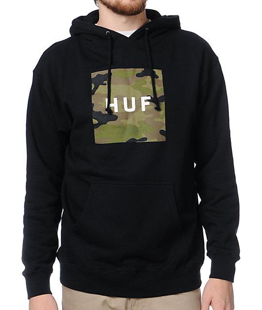 HUF Camo Box Logo Black Pullover Hoodie