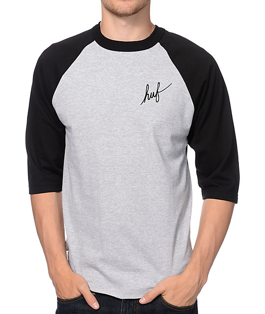 HUF Classic Script Heather Grey & Black Baseball T-Shirt