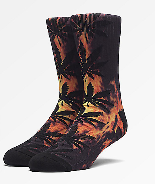 HUF Digital Plantlife Hot Fire & Black Crew Socks