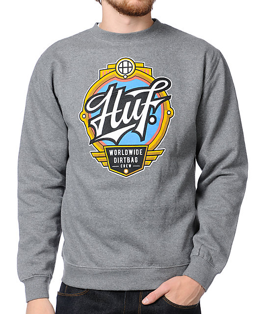HUF Emblem Heather Grey Crew Neck Sweatshirt