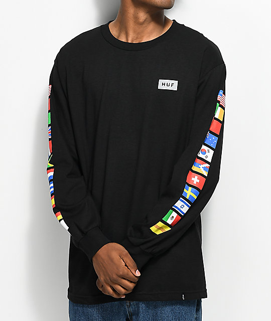 HUF Flags Black Long Sleeve T-Shirt | Zumiez