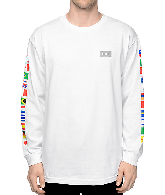 Huf flags white long sleeve t shirt zumiez for What is a long sleeve t shirt