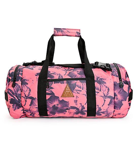 huf floral salmon duffle bag