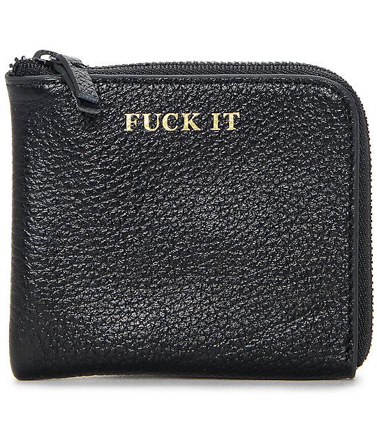 HUF Fuck It Black Leather Half Zip Wallet
