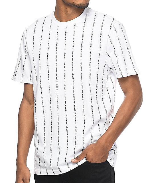 HUF Fuck It Pinstripe White Knit T-Shirt