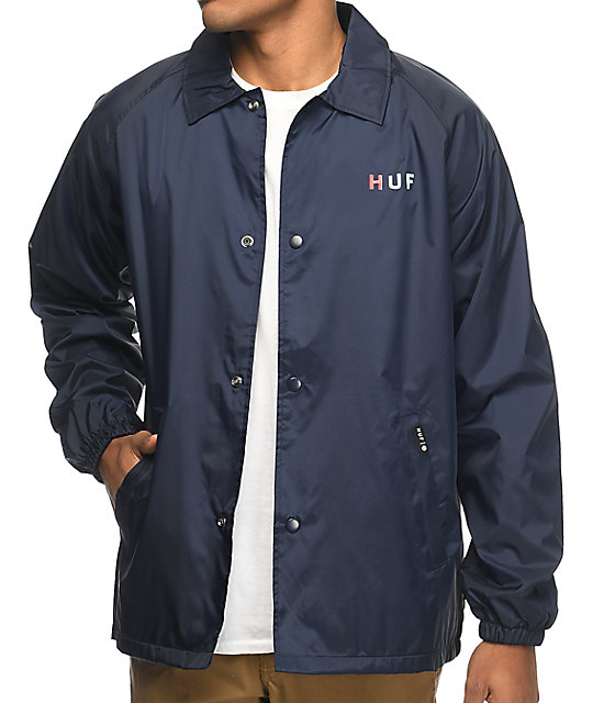 HUF Gradient OG Navy Coaches Jacket | Zumiez