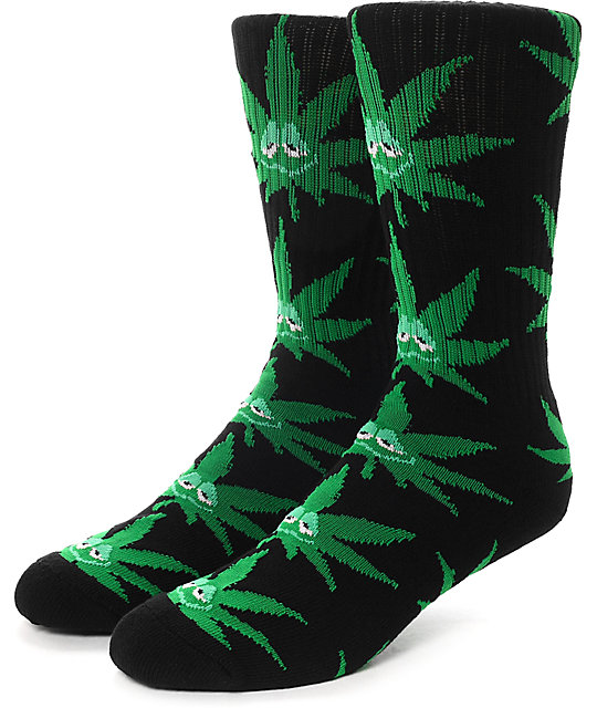HUF Green Buddy Black Crew Socks