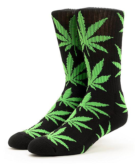 HUF Plantlife Black & Bright Green Crew Socks