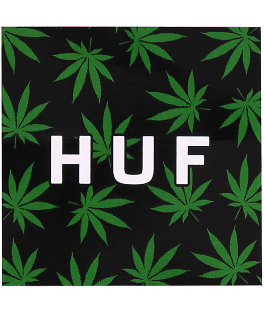 HUF Plantlife Box Logo Black & Green Sticker