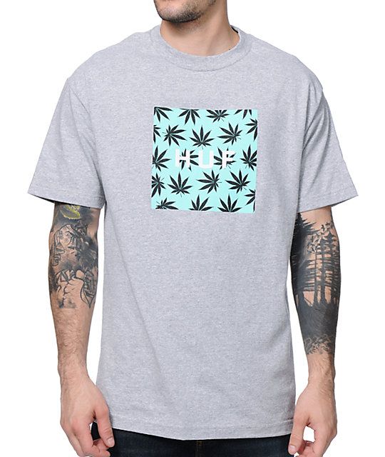 HUF Plantlife Box Logo Heather Grey T-Shirt