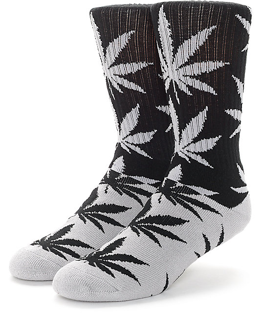 HUF Plantlife Colorblock Black & Grey Crew Socks