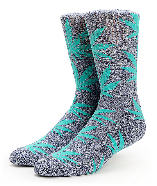 HUF Plantlife Heather Navy & Green Crew Socks
