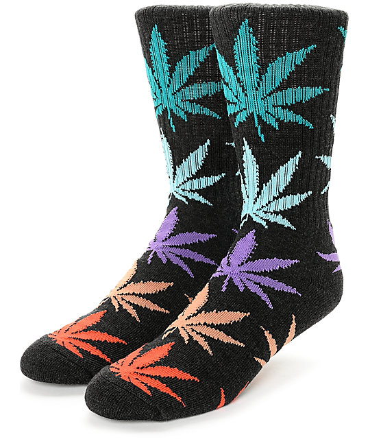 HUF Plantlife Melange Black, Teal, Red, & Purple Crew Socks