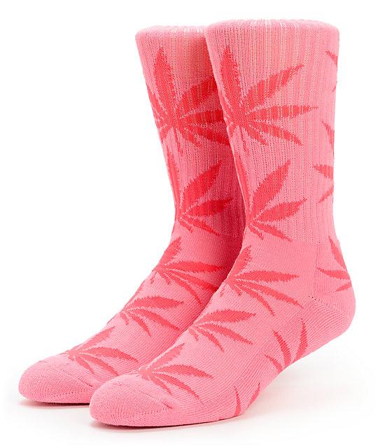 HUF Plantlife Pink On Pink Weed Print Crew Socks