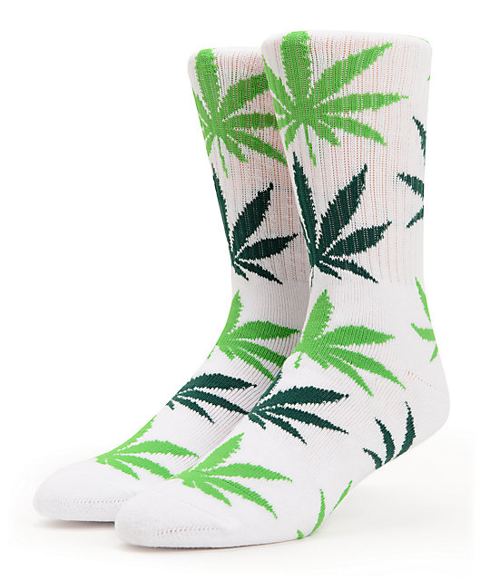 HUF Plantlife White & Green Crew Socks