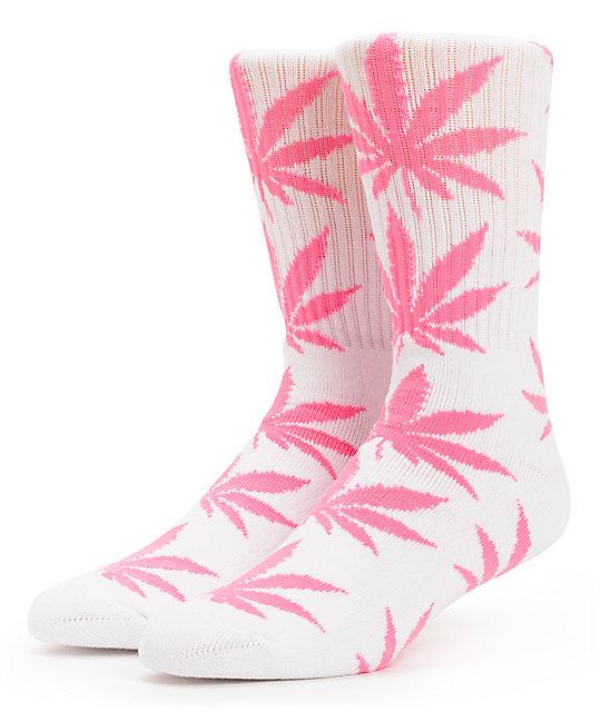 HUF Plantlife White & Pink Crew Socks
