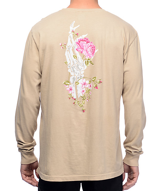 Rose Hand Tan Long Sleeve T-Shirt