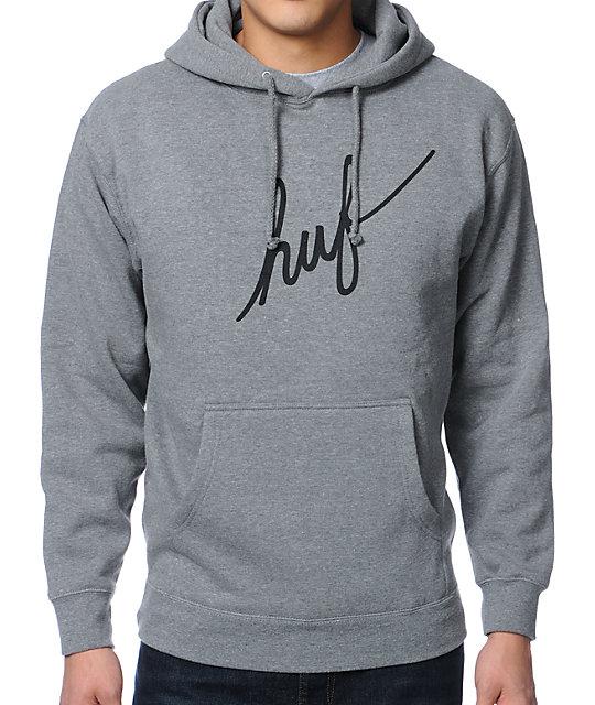 HUF Script Grey Pullover Hoodie