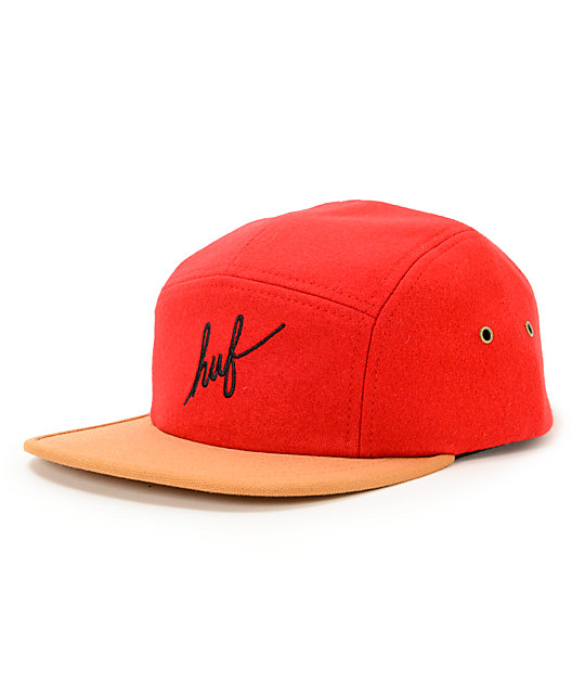 HUF Script Red & Tan 5 Panel Hat