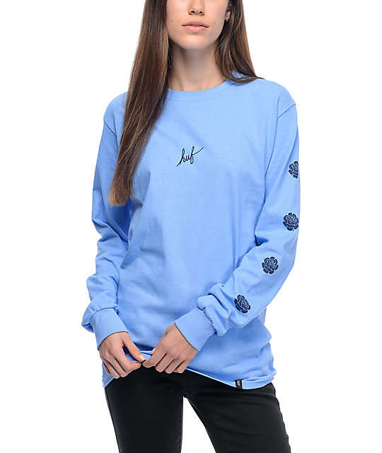 Script Rose Light Blue Long Sleeve T-Shirt