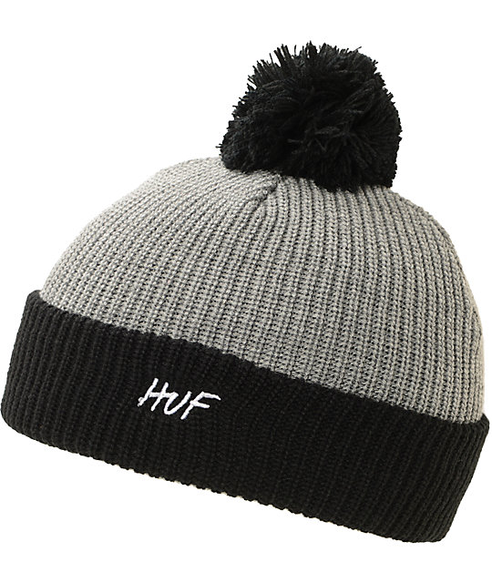 HUF Simple Black & Grey Pom Beanie