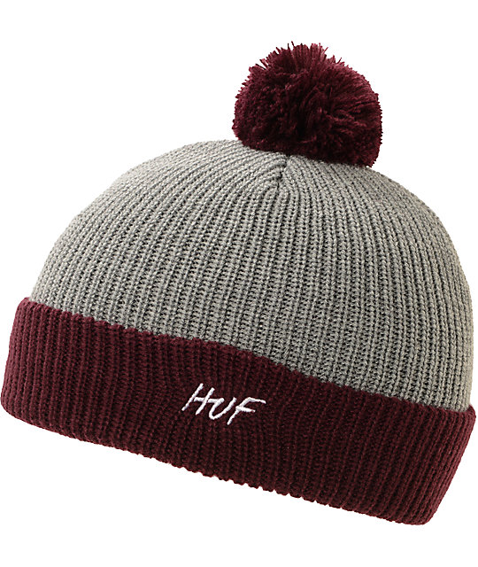 HUF Simple Burgundy & Grey Pom Beanie