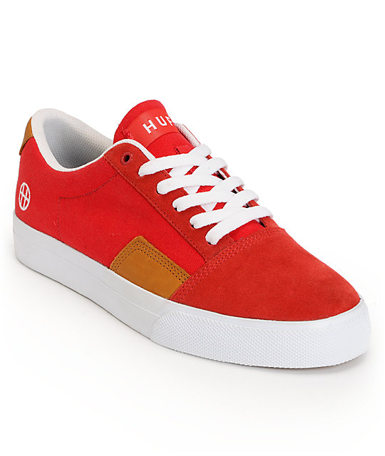 HUF Southern Red, White & Tan Leather Skate Shoes