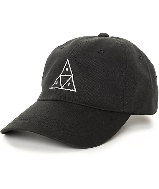 huf baseball cap uk triangle black hat front captains jersey
