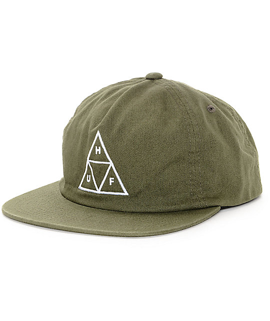 HUF Triangle Olive Unstructured Snapback Hat