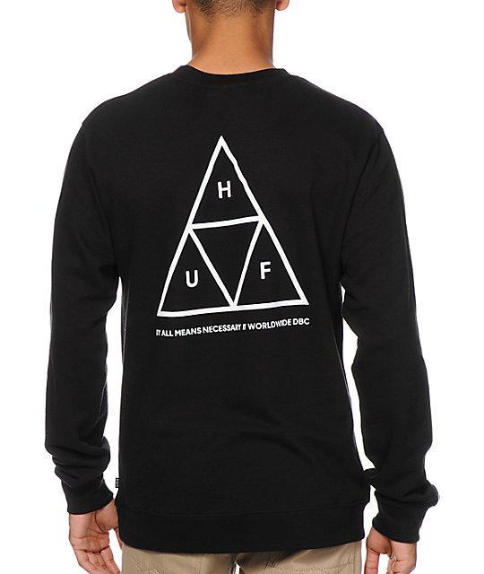 HUF Triple Triangle Black Crewneck Sweatshirt