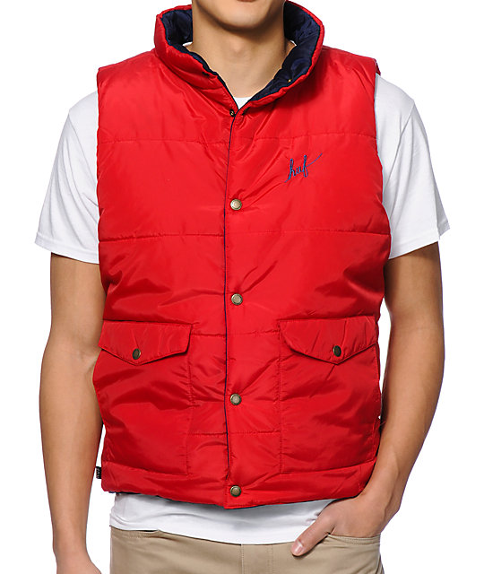 HUF Verses Puffer Navy & Red Reversible Vest