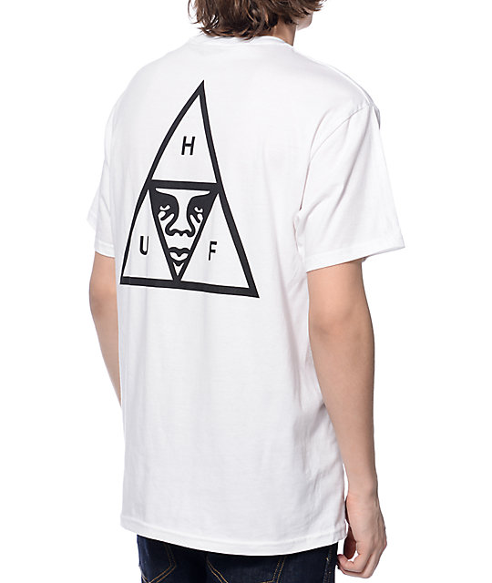 HUF x Obey Triple Triangle White Pocket T-Shirt