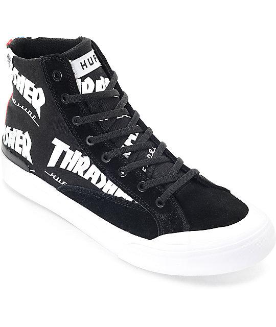 Huf X Thrasher Classic Hi Tds Black Amp White Skate Shoe At