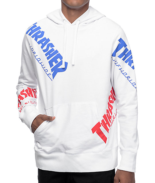 HUF x Thrasher TDS Allover White Hoodie at Zumiez : PDP