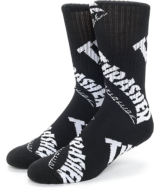 HUF x Thrasher TDS Black Crew Socks