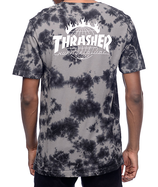 HUF x Thrasher TDS Black Crystal Wash T-Shirt