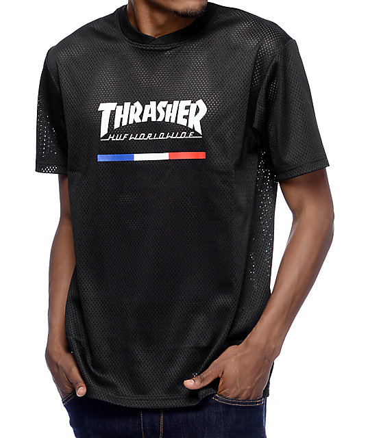 HUF x Thrasher TDS Black Mesh Jersey