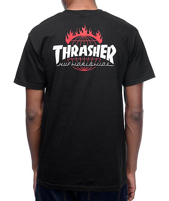 HUF x Thrasher TDS Black T-Shirt