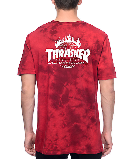Huf x thrasher tds crystal red tie dye t shirt at zumiez pdp for How to dye a shirt red