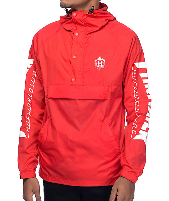Huf X Thrasher Tds Red Packable Anorak Windbreaker