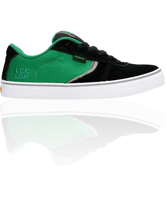 Balance Board Zumiez: Habitat Lark Black & Green Suede Skate Shoes