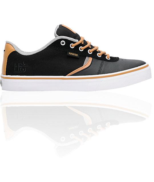 Habitat Lark Black & Tan Suede Skate Shoes