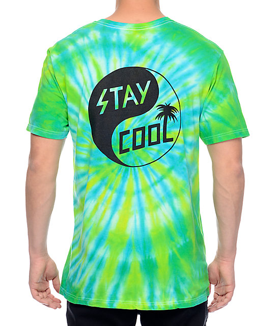 Happy Hour Stay Cool Blue & Yellow Tie Dye T-Shirt