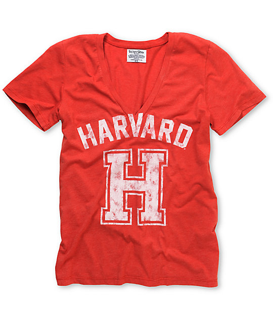 Harvard Crimson V-Neck College Football T-Shirt