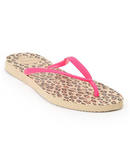 Havaianas Slim Animals Fluo Pink & Leopard Print Flip Flop Sandals